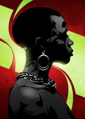 black ebony girl woman portrait silhoette vector illustration poster