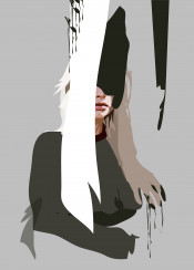 grey paint painterly hand woman hidden obscured black white green hair muted cool casual modern contemporary drips splash
