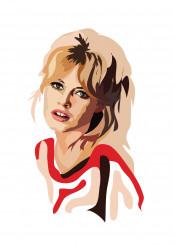 brigitte bardot red orange fashion actress french style sex symbol pattern 60s libra hair blonde woman cool vintage