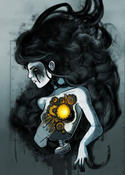 ghost modern spirit smoke woman girl portrait surreal surrealism weird machinery machine cyborg robot light dark dust white color black hairstyle hair horror terror scary imagination character conceptual concept conceptart unique ashes ash