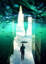 nyc water fish umbrella surreal