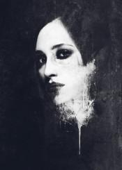 dark black white abstract surreal portrait contrast model macabre horror night