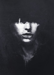 dark black white abstract surreal portrait contrast