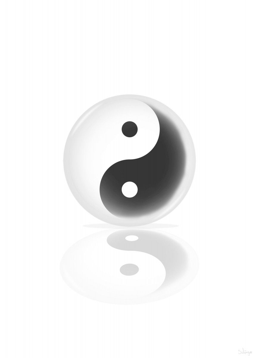 Ying Yang glas ball as clean simple version.