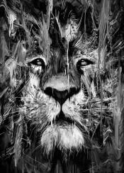 lion blackandwhite animals nature painting