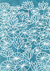 pond waterlily flowers floral landscape papercut nicsquirrell blue teal painting art design illustration