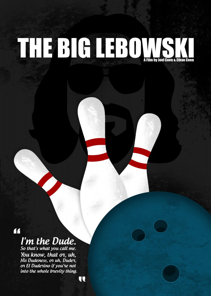 The Big Lebowski - Minimal Movie Poster. A Film by Joel Coen and Ethan