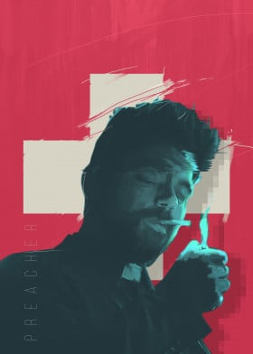 preacher series poster man glitch design grpahic illustration movie film tv blue red