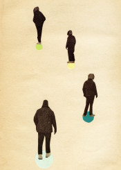 collage people male figure person wander walk circles spots black teal green yellow blue surreal vintage