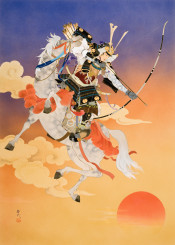 samurai japanese japan asian traditional sunset horse asia bow arrow fighter