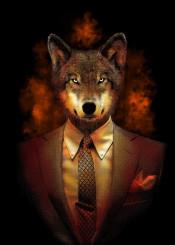 wolf animal howl illustration digital art design cool unique colors red smoke gentleman suit modern
