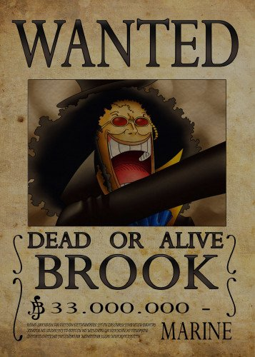 Wanted of Brook from One Piece... by Nicolas Massot   Displate