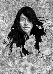 girl nature blackandwhite illustration flowers wilderness lineart linedrawing