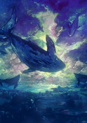 whale sunrise landscape underwater surreal
