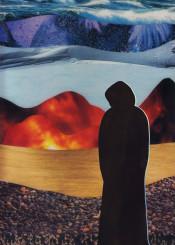 landscape collage figure silhouette magazine mountains rocks