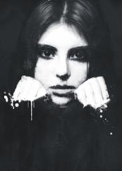 dark black white abstract painting monochrome portrait girl emotional eyes