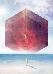 vector art digital fantasy sea sun cube girl alien galaxy illustration