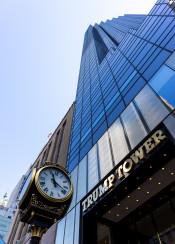 new york city cityscape building architecture trump tower clock sky blue manhattan usa