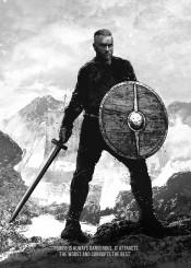 ragnar lothbrok travis fimmel vikings tv series black white