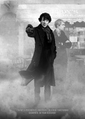 sherlock holmes dr watson doctor detective tv series benedict cumberbatch martin freeman black white