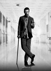 gregory house dr doctor hugh laurie tv series black white