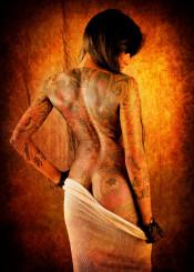 girl woman female feminine tattoo tattoed tattooes texture textured textures nude