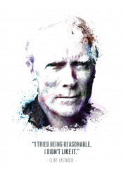 clint eastwood legend badass icon watercolor water color white black bw swav cembrzynski abstract reasonable
