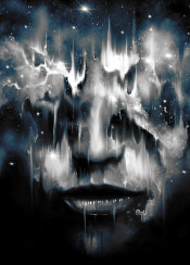 space face portrait painting stars