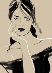 women beauty minimal fashion brushstrokes simple chic portrait femme feminine stylish taste
