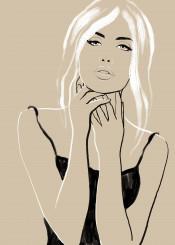 femme woman beauty hotgirl sexy blonde fashion brushstrokes portrait chic elegant style