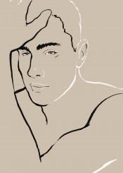 man homme portrait hunk guy gay minimal simple chic lines brushstrokes