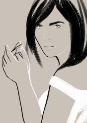 fashion femme woman chic feminine style minimal beauty look strokes brushstrokes simple