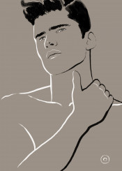 man model fashion portrait minimal simple chic style lines strokes neutral naturelle pensive handsome hairstyle