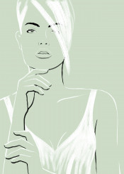 femme vrouw sexy minimal fashion sensual simple lines strokes beauty hair portrait