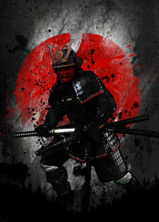 digital samurai mask dojin do jitsu anime kabuto kabut red japan sword swordsman master king empire old vintage set black white japanese china warrior kill war blade kabuki masks history fanfreak traditional