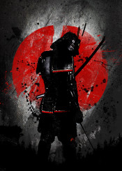 samurai fanfreak ink inking water color colour anime manga japanese japan china vintage warrior sword killer kill armour armor red sun flag splatter tree nature history war tradition traditional cool painting halftone sorrow crying man male figure power strength