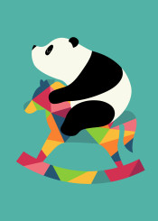 panda rock geometric rainbow cute rocking horse