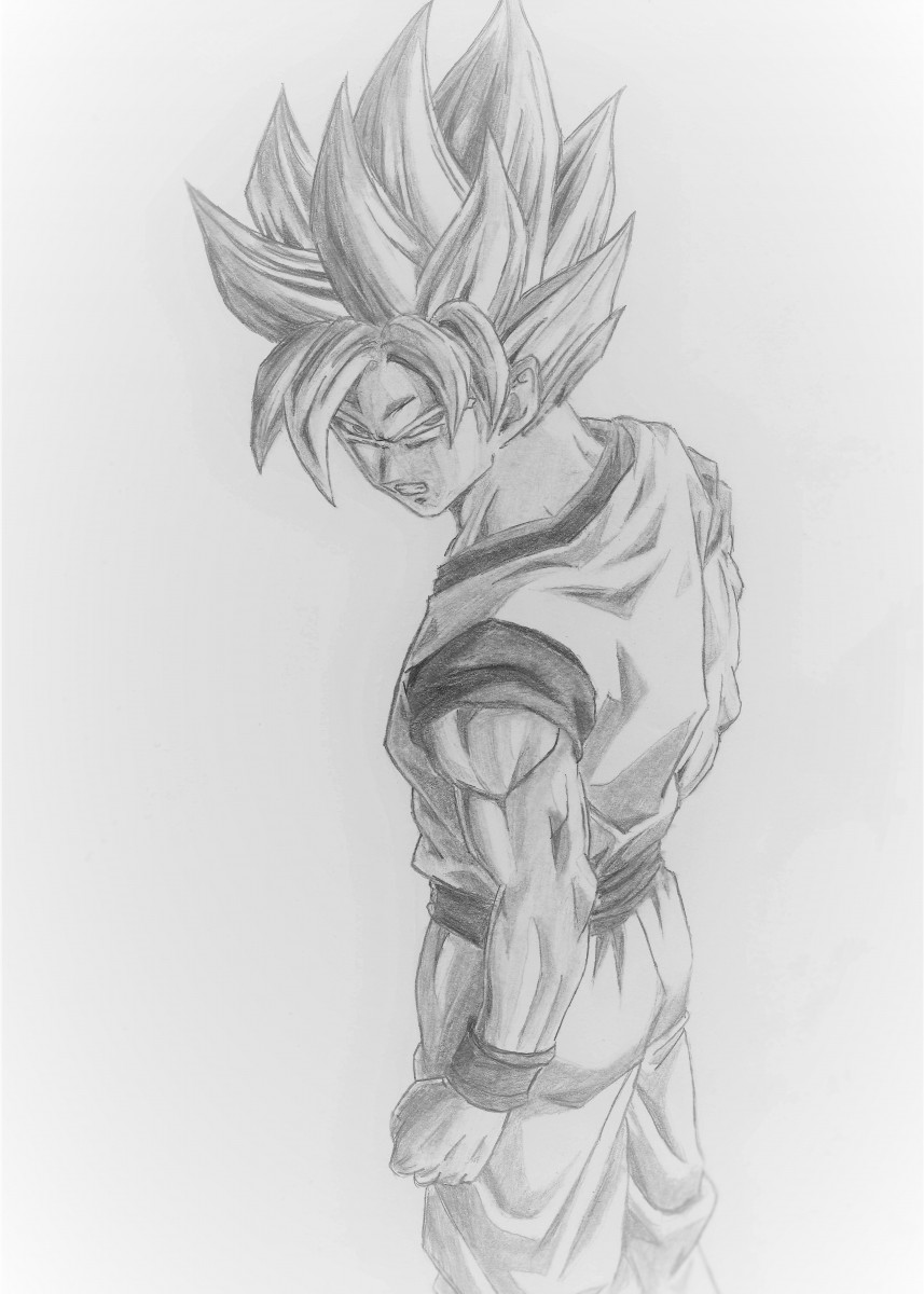 Pencil drawing of goku super s tv shows poster print