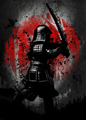 red sun samurai sam japanese japan flag minimal splatter ink inking sword swordsman anime manga nature killer kill crimson black white creast tree animal forest watercolor colour slice ninja fanfreak