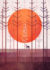 pine trees deer animal branches forest sun vector art digital design
