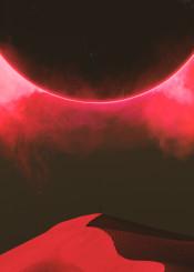 fantasy scifi retro eclipse doom planet alien smoke red black dunes desert dark sand human cloud fog