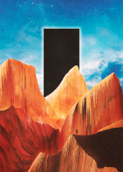 scifi retro fantasy sciencefiction 2001 space odyssey human mountain clouds sky blue orange monolith megalith