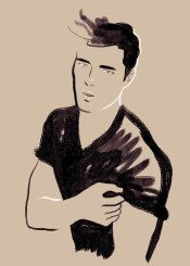 portrait man guy minimal simple brushstrokes watercolor aquarelle gay twink fashion