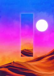 space scifi retro neon fantasy colorful sky sun stars planets cosmos nebula desert dune dunes