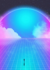 retro space scifi fantasy 80s 90s neon stars clouds fog smoke grid human