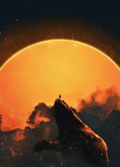 dark sun eclipse mountain smoke fog darkness human apocalypse scifi retro cool 80s 90s