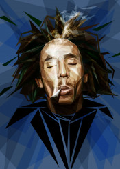 bobmarley poly polygonal smoking smoke hippie reggae music icon