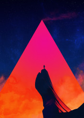 fantasy scifi retro triangle sky space stars mountain human epic smoke