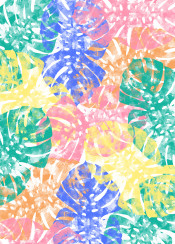 mosntera tropical jungle watercolor ink colorful