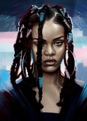 rihanna music portrait strong beauty digital art hair fashion